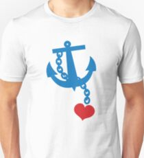 NAVY blue anchor with a love heart Unisex T-Shirt