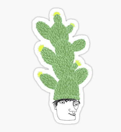 Cactus Hat Hipster Street Wear Sticker