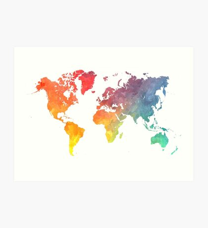 Map of the world colored Art Print