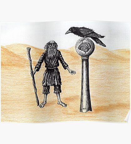 End of the Journey surreal pen ink color pencil drawing Poster
