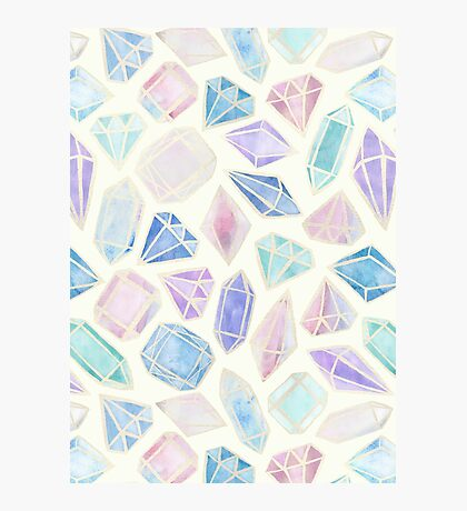 Pastel Watercolor Gems Photographic Print