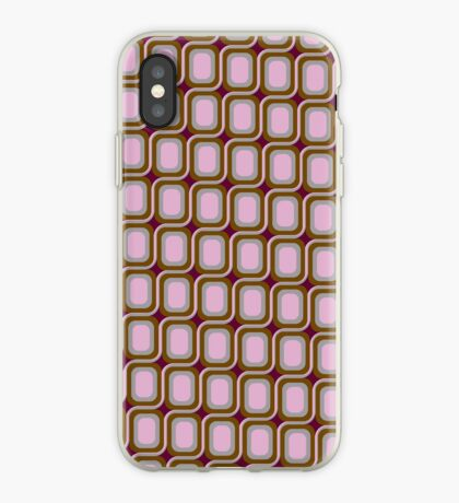 That 70's Design - Brown Grey Pink on Maroon Background iPhone Case