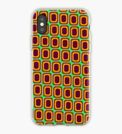 That 70's Design - Brown Orange Maroon on Lime Background iPhone Case