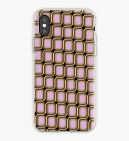 That 70's Design - Brown Grey Pink on Black Background iPhone Case
