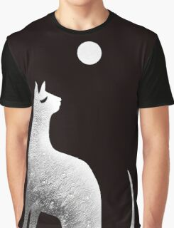 Ghost Cat and Moon in black and white Graphic T-Shirt