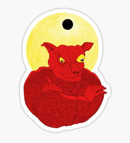 Red Cat Demon up to no good under a bad moon Sticker