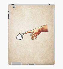 Funny 8bit Nerd & Geek Humor (Creation of Adam Parody) iPad Case/Skin