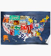 License Plate Map of The United States 2012 on Blue Poster