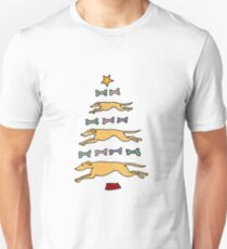 Fun Cool Greyhound Dog and Biscuits Christmas Tree Unisex T-Shirt