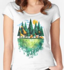 Geo Forest Women's Fitted Scoop T-Shirt