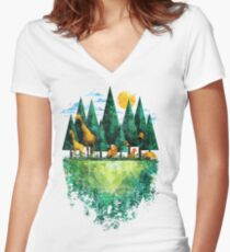 Geo Forest Women's Fitted V-Neck T-Shirt