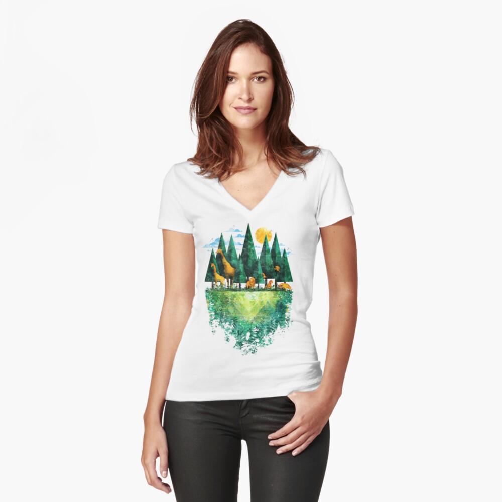 Geo Wald Tailliertes T-Shirt mit V-Ausschnitt