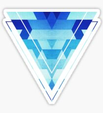 Abstract geometric triangle pattern (futuristic future symmetry) in ice blue Sticker