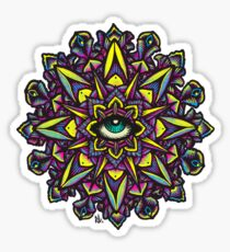 Dharma Wheel Neon Mandala Sticker