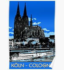 Koeln Cologne retro vintage style travel ad  Poster