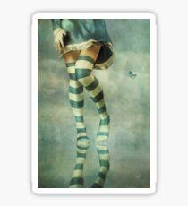 Lovely Girl with Striped Socks Sticker