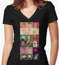 18 Cartoon Protagonists Women's Fitted V-Neck T-Shirt