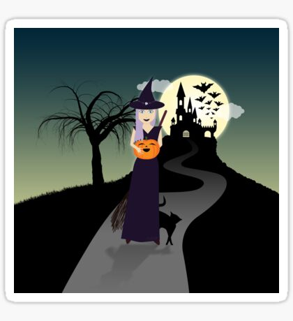 Cute Halloween Witch With Happy Pumpkin And Black Cat Sticker