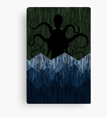 Cthulhu's sea of madness - Green Canvas Print
