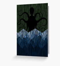 Cthulhu's sea of madness - Green Greeting Card