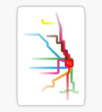 Chicago CTA Rainbow Map Sticker