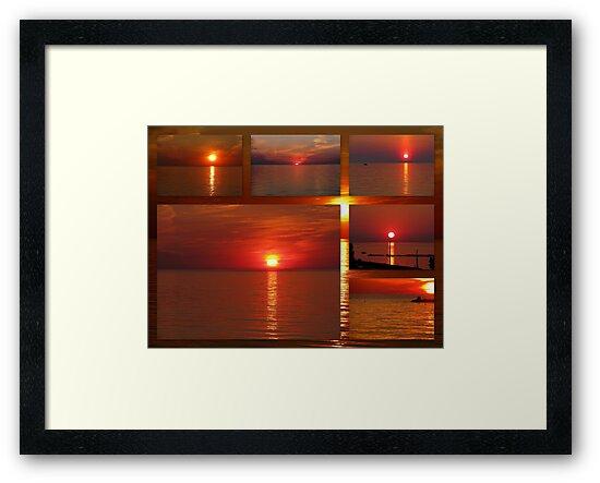 Red Skies on Lake Huron by Greta  McLaughlin
