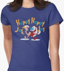 Happy Happy Joy Joy Womens Fitted T-Shirt