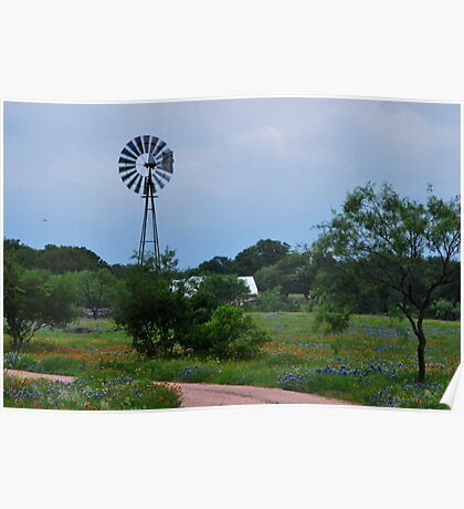 Windmill in the Wildflowers Poster