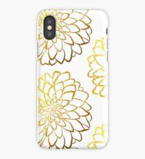 Dahlia gold foil pattern on white  iPhone Case/Skin