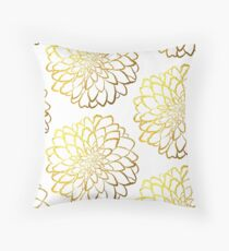 Dahlia gold foil pattern on white  Throw Pillow