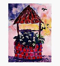 Daughters inherited wishing well, watercolor Photographic Print