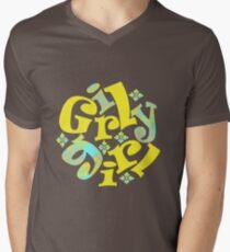 girly girl in yellow Men's V-Neck T-Shirt