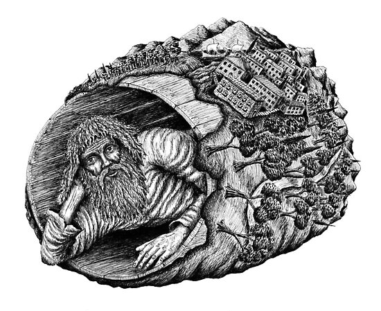Diogenes surreal pen ink black and white drawing by Vitaliy Gonikman