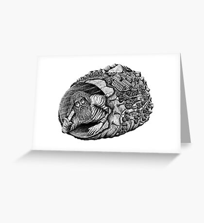 Diogenes surreal pen ink black and white drawing Greeting Card