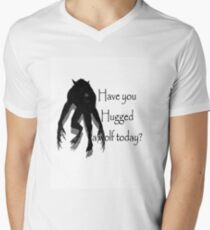 Have You Hugged a Wolf (with white background) Men's V-Neck T-Shirt