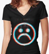 Sad Glitch Women's Fitted V-Neck T-Shirt