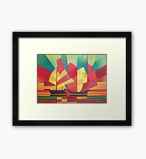 Cubist Abstract of Junk Sails and Ocean Skies Framed Print