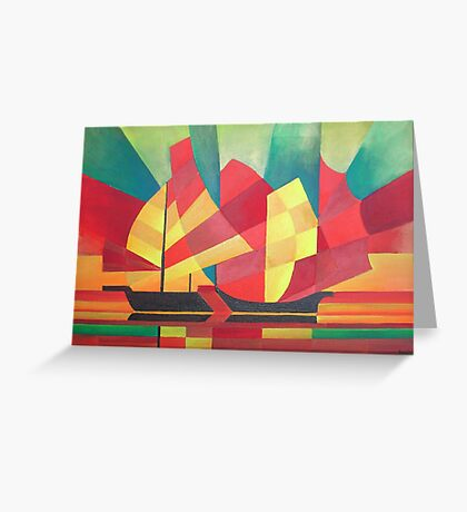 Cubist Abstract of Junk Sails and Ocean Skies Greeting Card