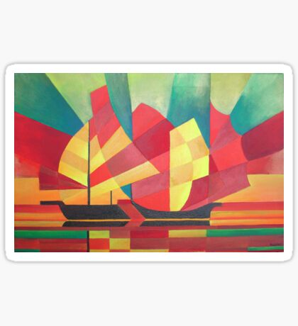 Cubist Abstract of Junk Sails and Ocean Skies Sticker