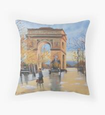 The Arc De Triomphe from Eugene Galien Laloue 1890 Throw Pillow
