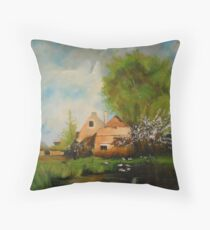 Ferme en bordure de chemin from Eugene Galien Laloue 1899 Throw Pillow
