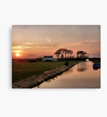 Sunset on the Lancaster Canal Canvas Print