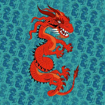 Red Dragon on Teal by Lines