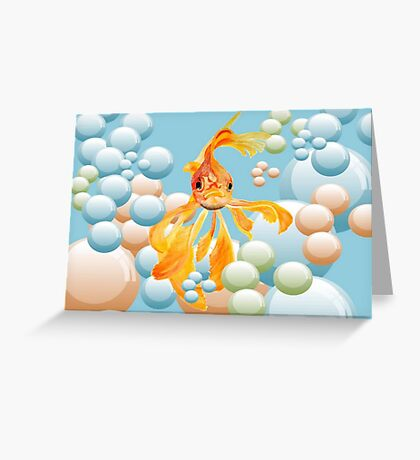 Vermillion Goldfish Blowing Bubbles Greeting Card