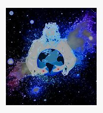 For The Love Of   God & A Neon Vision Of The Round Globe We Call Earth Photographic Print