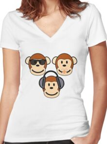 Illustration of Cartoon Three Monkeys - See, Hear, Speak No Evil Women's Fitted V-Neck T-Shirt