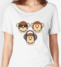 Illustration of Cartoon Three Monkeys - See, Hear, Speak No Evil Women's Relaxed Fit T-Shirt