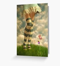 Cute Girl with Striped Socks Greeting Card