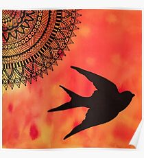 Mandala Bird Sunset Abstract Poster