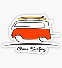 Red VW Bus Van Gone Surfing  Sticker